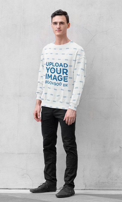 Mockup of a Young Man Wearing a Sublimated Sweatshirt 40055-r-el2