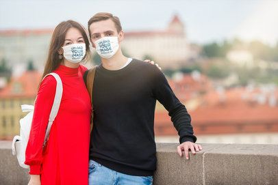Mockup of a Couple Wearing Face Masks 39905-r-el2