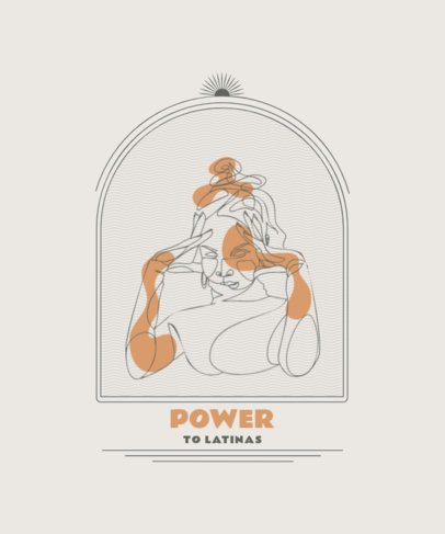 T-Shirt Design Maker Featuring Single-Line Drawings of Latin Women 2478-el1