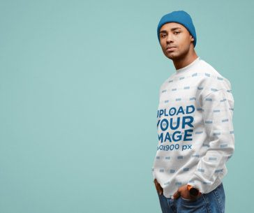 Sublimated Sweatshirt Mockup Featuring a Man Posing With His Hands in His Pockets 38250-r-el2