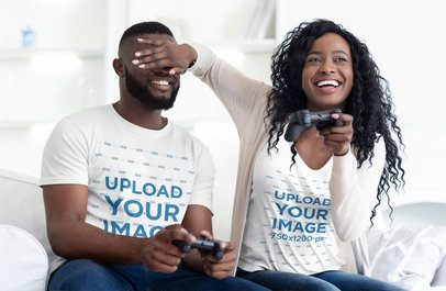 T-Shirt Mockup of a Woman Joking with Her Boyfriend while Playing Video Games 38820-r-el2