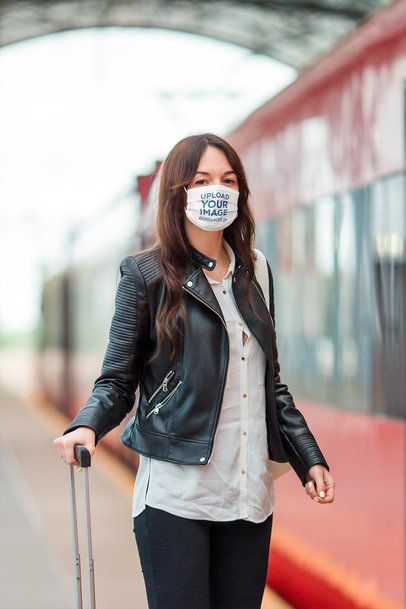 Face Mask Mockup of a Woman About to Board a Train 39901-r-el2