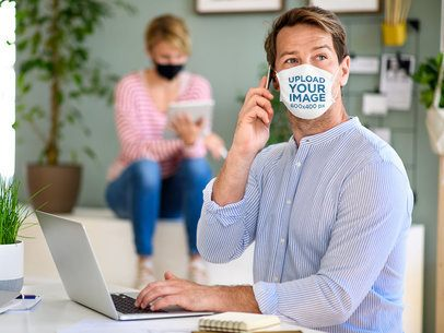 Face Mask Mockup of a Man Talking on the Phone 40421-r-el2
