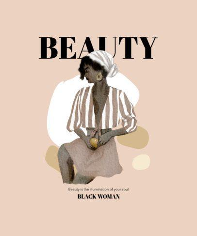 Illustrated T-Shirt Design Maker Featuring a Black Woman 2471e-el1