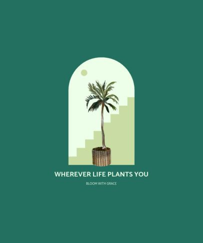 Illustrated T-Shirt Design Template Featuring a Palm Tree Clipart 2497d-el1