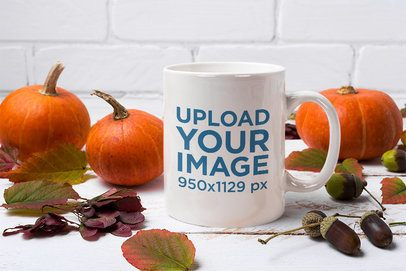 Mockup Featuring an 11 oz Mug Surrounded by Pumpkins 37284-r-el2
