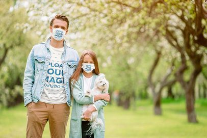 T-Shirt Mockup of a Man and His Daughter Wearing Face Masks 39909-r-el2