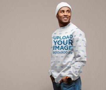 Sublimated Sweatshirt Mockup of a Happy Man with a Fall-Season Wardrobe 39818-r-el2