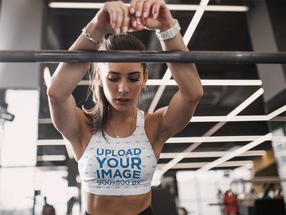 Sublimated Sports Bra Mockup Featuring a Serious Woman at the Gym 35282-r-el2