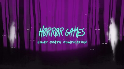 Illustrated YouTube Thumbnail Template for Horror Game Streams Featuring a Dark Forest 2797g