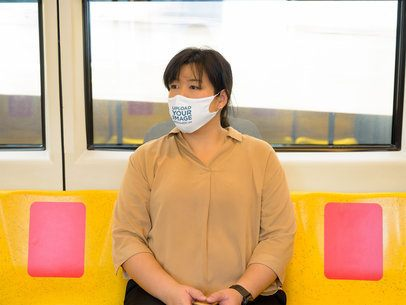 Face Mask Mockup of a Woman Using Public Transportation 40528-r-el2