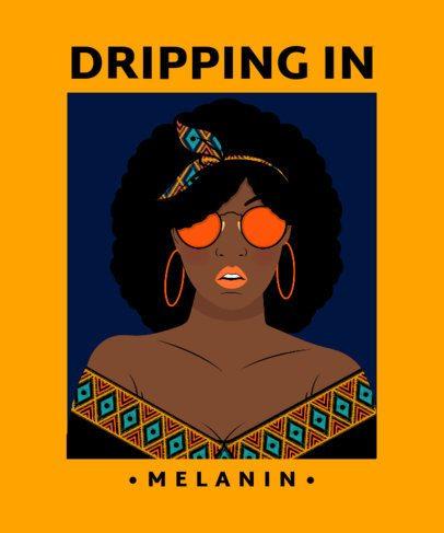 T-Shirt Design Template Featuring a Black Woman Illustration 2802b