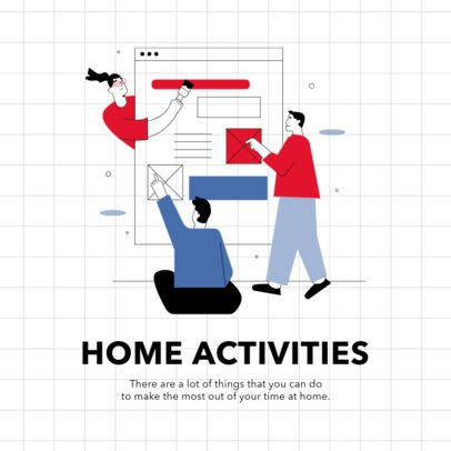 Instagram Post Maker Featuring Home Activity Tips with a Sectional Grid 2586-el1