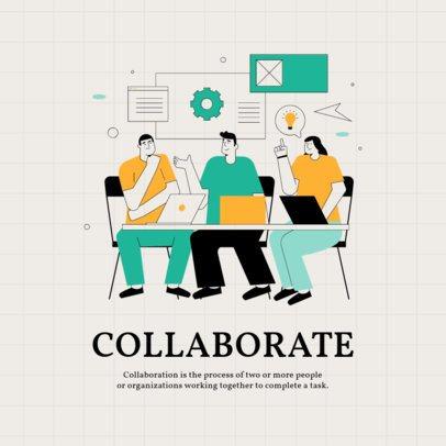 Illustrated Instagram Post Creator Featuring a Teamwork Quote 2586c-el1