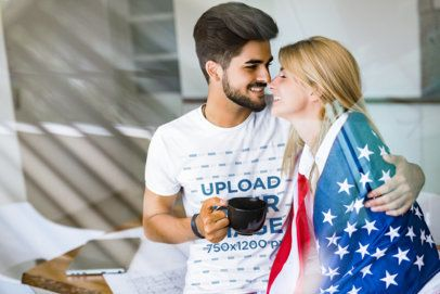 T-Shirt Mockup Featuring a Man with His Girlfriend and the US Flag 40680-r-el2