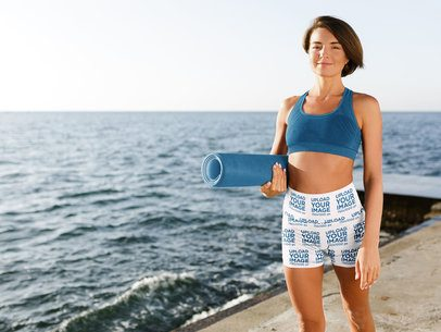 Bike Shorts Mockup of a Woman Standing Near the Ocean 41180-r-el2