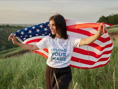 T-Shirt Mockup of a Woman Waving an American Flag 40859-r-el2