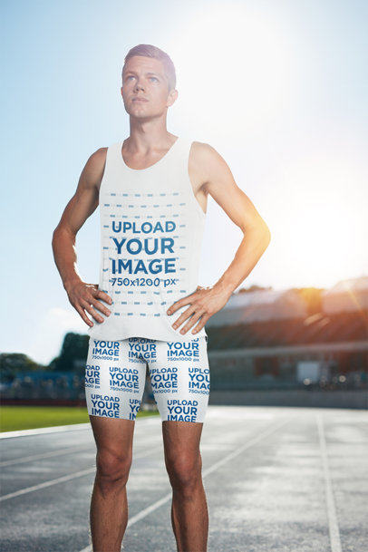 Mockup of a Young Runner Wearing Shorts and a Tank Top 41225-r-el2