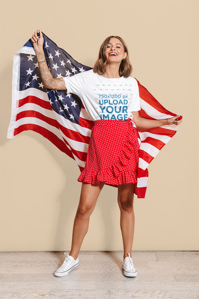 Oversized T-Shirt Mockup Featuring a Happy Woman Holding an American Flag 37886-r-el2