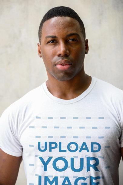 Closeup T-Shirt Mockup Featuring a Serious Man 40411-r-el2