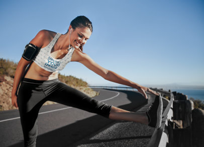 Sports Bra Mockup of a Woman Stretching To Go for a Run 35240-r-el2