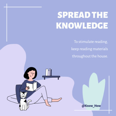 Instagram Post Creator with an Illustration of a Woman Reading at Home 2584b-el1