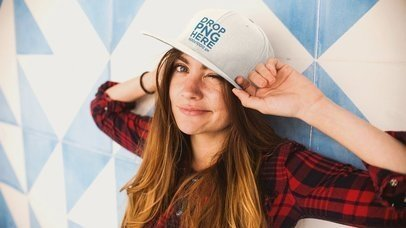 Young White Woman Wearing A Hat Takes It Off Stop Motion Mockup a13704