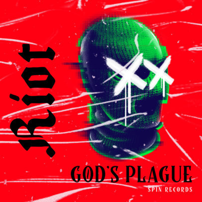 Trap Metal-Style Album Cover Template Featuring a Balaclava Graphic 2817g