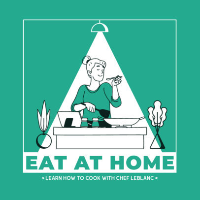 Illustrated Instagram Post Creator with a Woman Cooking at Home 2590a-el1