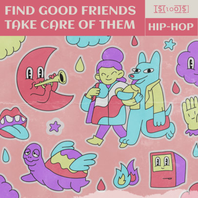 Album Cover Generator Featuring Trippy Cartoon Characters 2814e