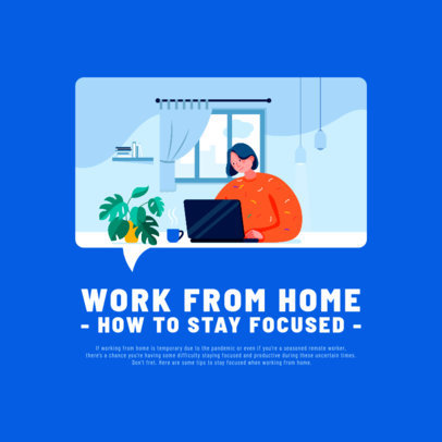 Illustrated Instagram Post Creator Featuring a Woman Working From Home 2591a-el1