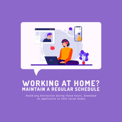 Instagram Post Creator Featuring an Illustration of a Woman Working From Home 2591e-el1