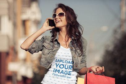V-Neck T-Shirt Mockup of a Joyful Woman Speaking on the Phone 38604-r-el2