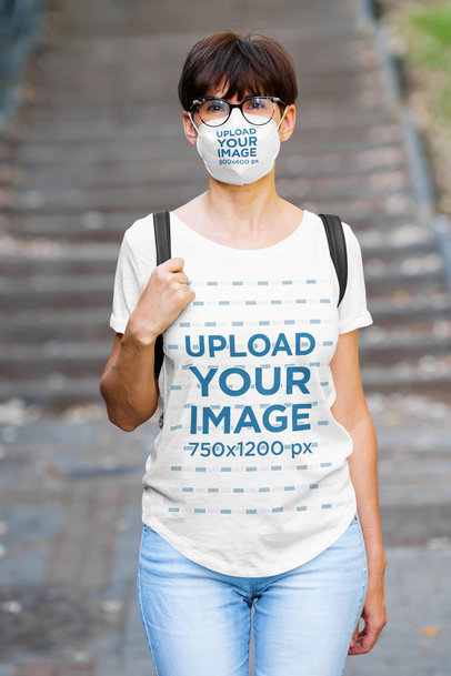 T-Shirt Mockup of a Woman with Glasses Wearing a Face Mask 40639-r-el2