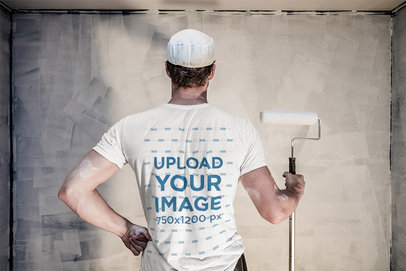 T-Shirt Mockup Featuring the Back of a Painter 36137-r-el2
