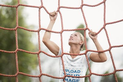 T-Shirt Mockup of a Military Recruit Woman Climbing a Net 40740-r-el2