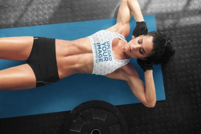 Sports Bra Mockup of a Woman Doing Crunches at the Gym 34865-r-el2