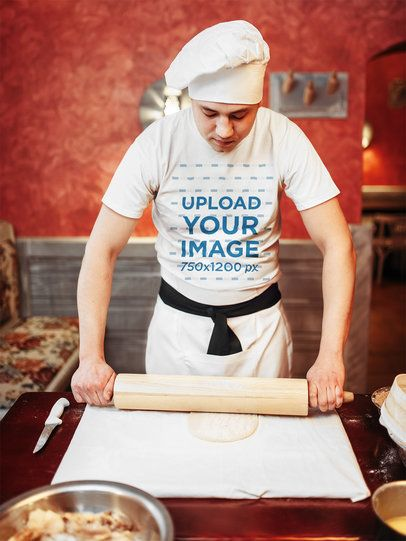 T-Shirt Mockup Featuring a Baker Rolling Out Pizza Dough 37701-r-el2