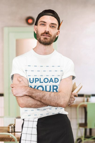 T-Shirt Mockup Featuring a Bearded Waiter Posing With His Arms Crossed 39787-r-el2