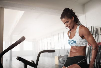 Activewear Mockup of a Woman Wearing a Sublimated Sports Bra at the Gym 35517-r-el2