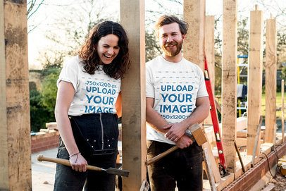 T-Shirt Mockup of a Couple Building a House 39538-r-el2