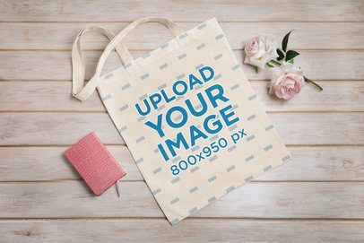 Sublimated Tote Bag Mockup Featuring Fake Flowers 41539-r-el2