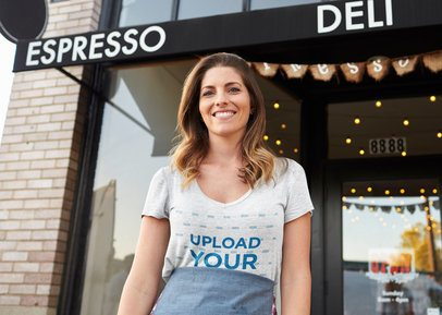 T-Shirt Mockup Featuring a Woman in Front of a Coffee Shop 40641-r-el2
