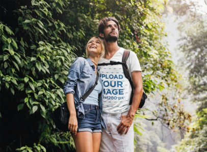 V-Neck T-Shirt Mockup of a Bearded Man Hiking With His Girlfriend 42046-r-el2