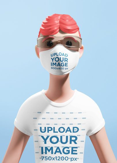 Illustrated T-Shirt Mockup of a Cartoon Character Wearing a Face Mask 42280