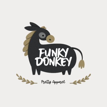 Logo Generator for a Kids' Apparel Brand Featuring a Donkey Clipart 3607b