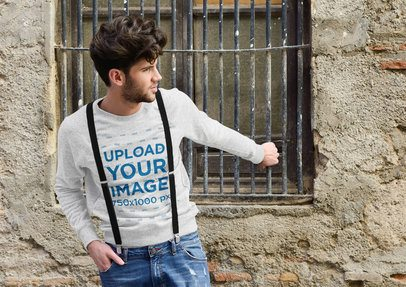 Mockup of a Fashionable Man Wearing a Heather Sweatshirt on the Street 41254-r-el2