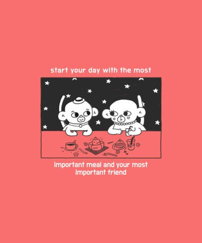 T-Shirt Design Creator Featuring Two Monkeys Having a Meal 2600a
