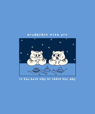 T-Shirt Design Generator Featuring Two Chubby Cats Having Breakfast 2600c