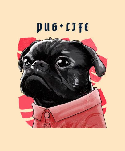 T-Shirt Design Maker Featuring a Pug Portrait 2840d